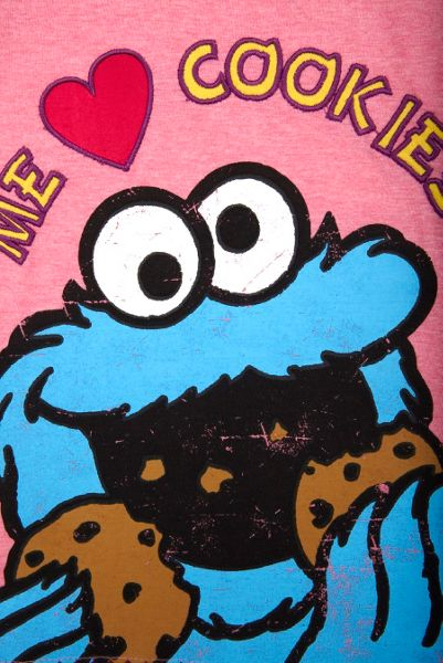 Fabric Flavours Girls Cookie Monster Heart Cookies T-Shirt