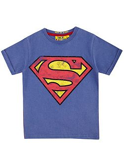 Kids Superman logo vintage wash t-shirt