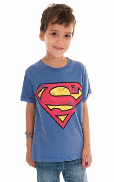 Fabric Flavours Kids Superman logo vintage wash t-shirt