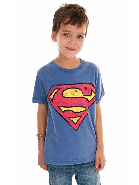 Fabric flavours kids superman logo vintage wash t shirt for Make your own superman shirt