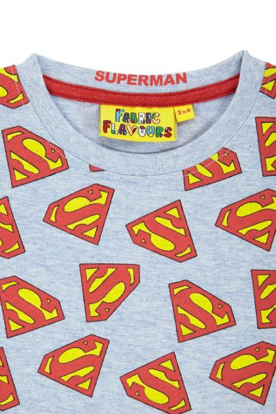Fabric Flavours Boys Superman logo light blue t-shirt