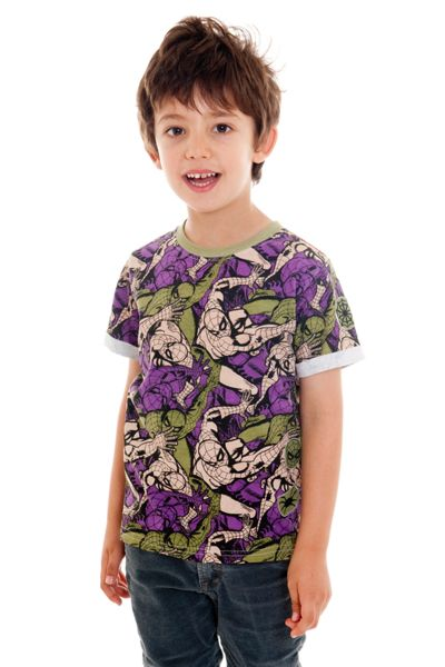 Fabric Flavours Boys Spider-Man Camo T-Shirt