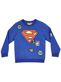 Boys Superman logo badge sweatshirt