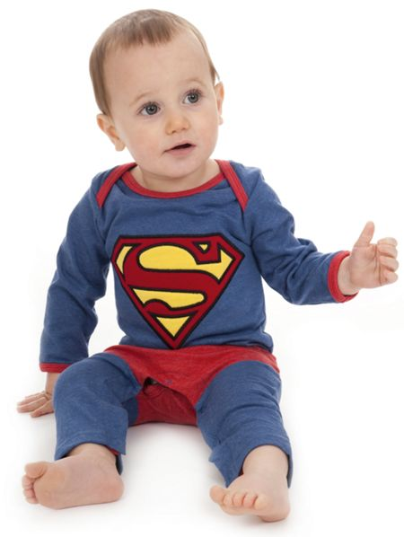 Fabric Flavours Boys Superman `Super Suit` Babygrow