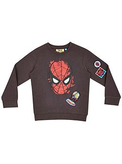 Fabric Flavours Boys Spider-Man Face Sweatshirt
