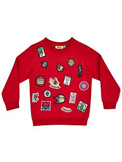Boys Spider-Man face badge sweatshirt
