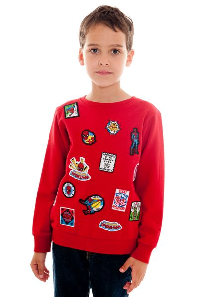Fabric Flavours Boys Spider-Man face badge sweatshirt