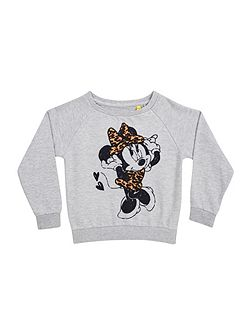 Girls minnie leopard print sweatshirt