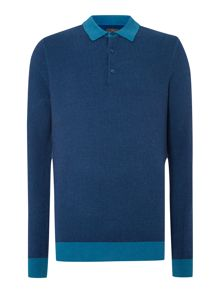 Nouveau long sleeved knitted polo shirt