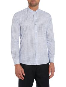 Peter Werth Olson micro collar box print shirt