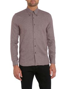 Conrad rolled button down collar dogtooth shirt