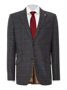 N.1 cut window pane check blazer