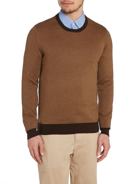 Peter Werth Orton Dogtooth Knitted Long Sleeved Cotton Crew N