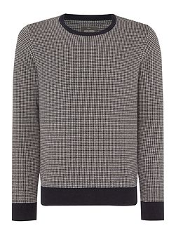 Orton Dogtooth Knitted Long Sleeved Cotton Crew N