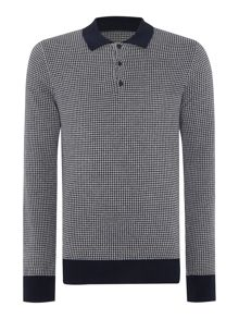 Julius dogtooth long sleeved knitted cotton polo