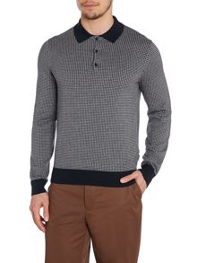 Peter Werth Julius dogtooth long sleeved knitted cotton polo