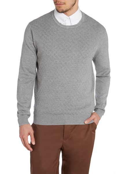 Peter Werth James Argyle Textured Crew Neck Jumper