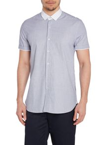Peter Werth Grimas Stripe Slim Fit Short Sleeve Button Down S