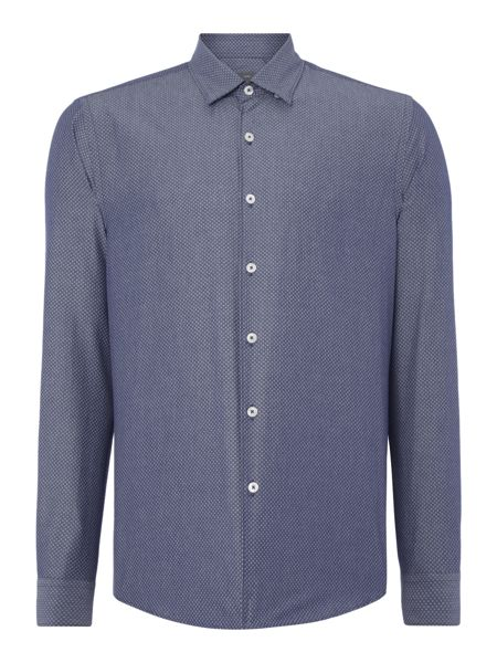 Peter Werth Tasker Polka Dot Slim Fit Long Sleeve Button Down