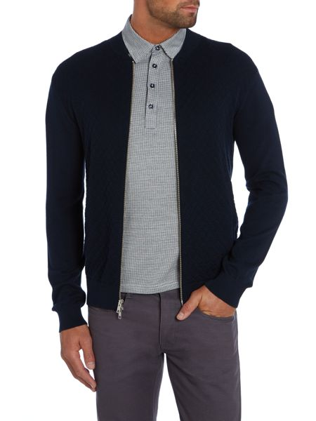Peter Werth Terry Pattern Crew Neck Zip Fastening Cardigan
