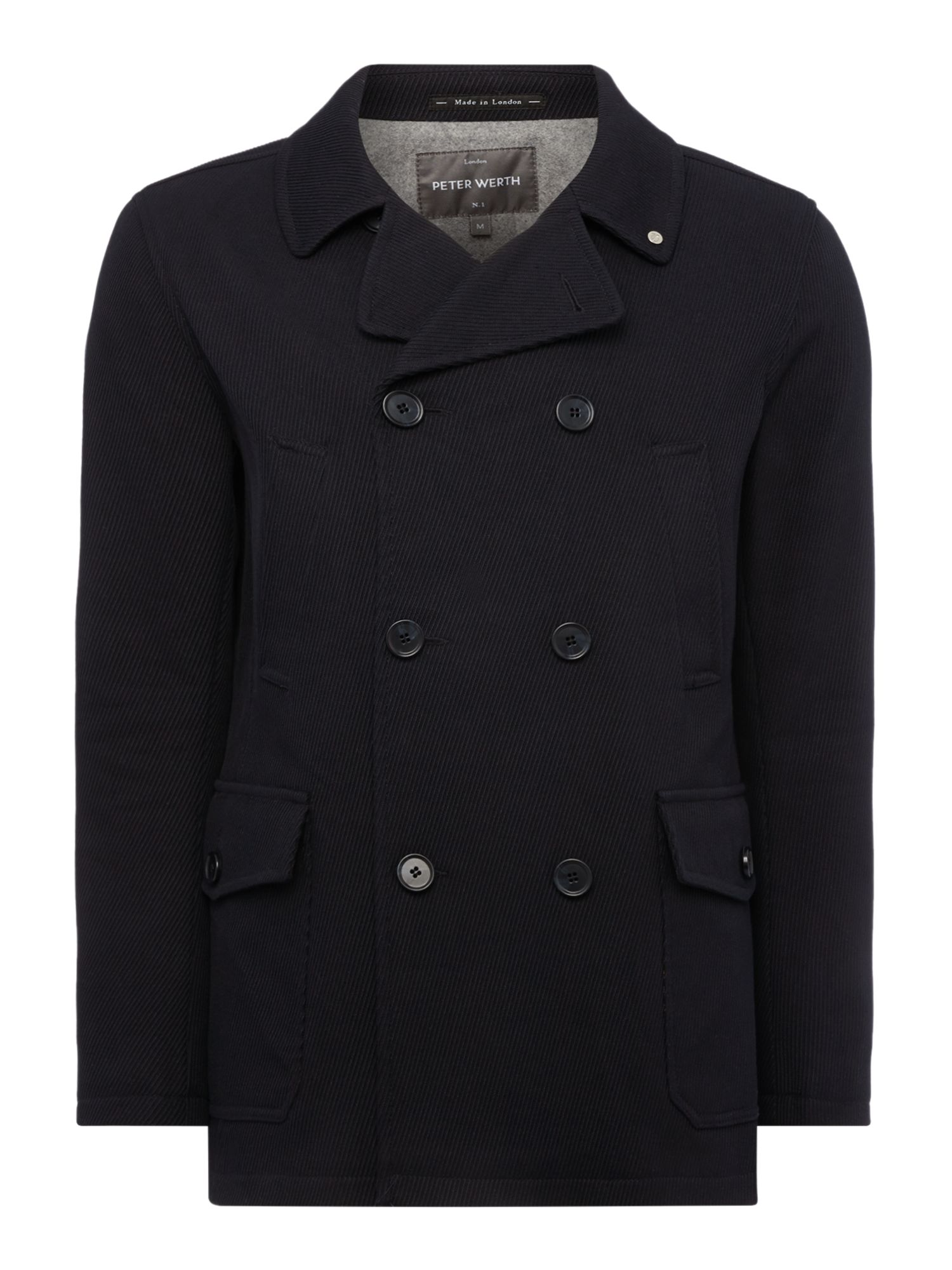 Mens Peter Werth Eastern Alpha Button Pea Coat Navy