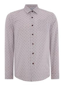 Peter Werth Wire Print Slim Fit Long Sleeve Button Down Shirt