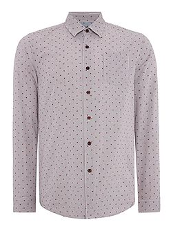 Wire Print Slim Fit Long Sleeve Button Down
