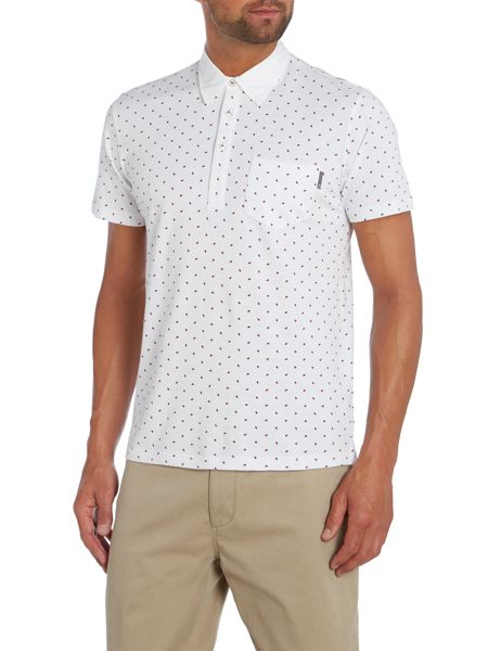 Peter Werth Grate Diamond Print Polo Slim Fit Polo Shirt