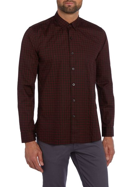 Peter Werth Daily Polka Dot Slim Fit Long Sleeve Button Down