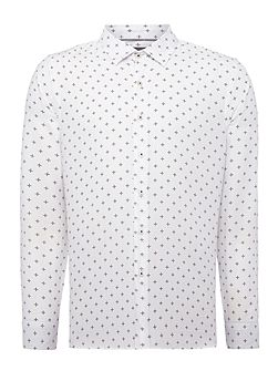 Bell Cross Hatch Print Slim Fit Long Sleeve