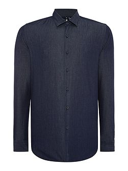 Textured Slim Fit Long Sleeve Button Down Shirt
