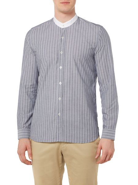 Peter Werth Chamber Striped Grandad Collar Shirt