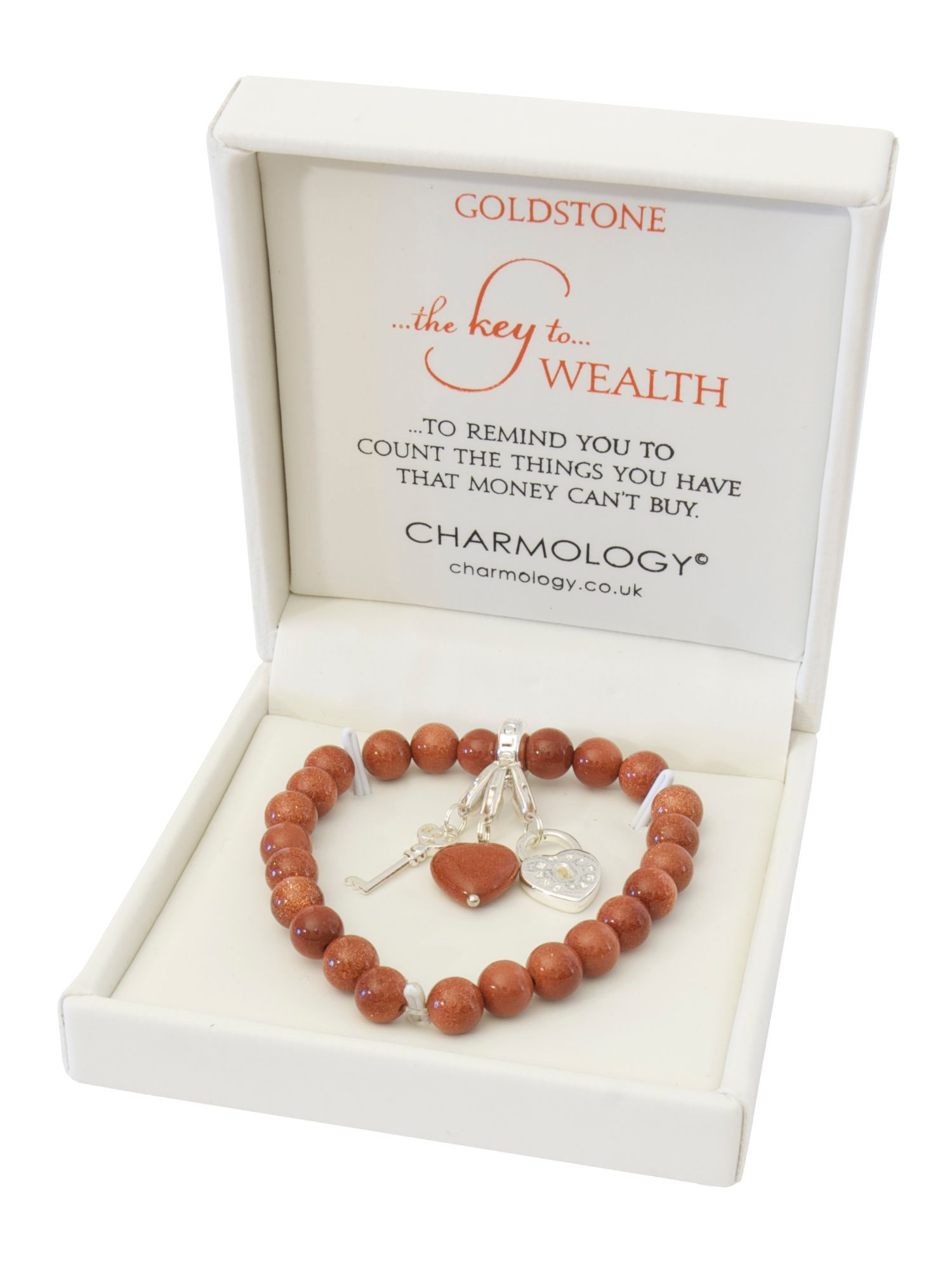 Charmology key to wealth goldstone charm bracelet