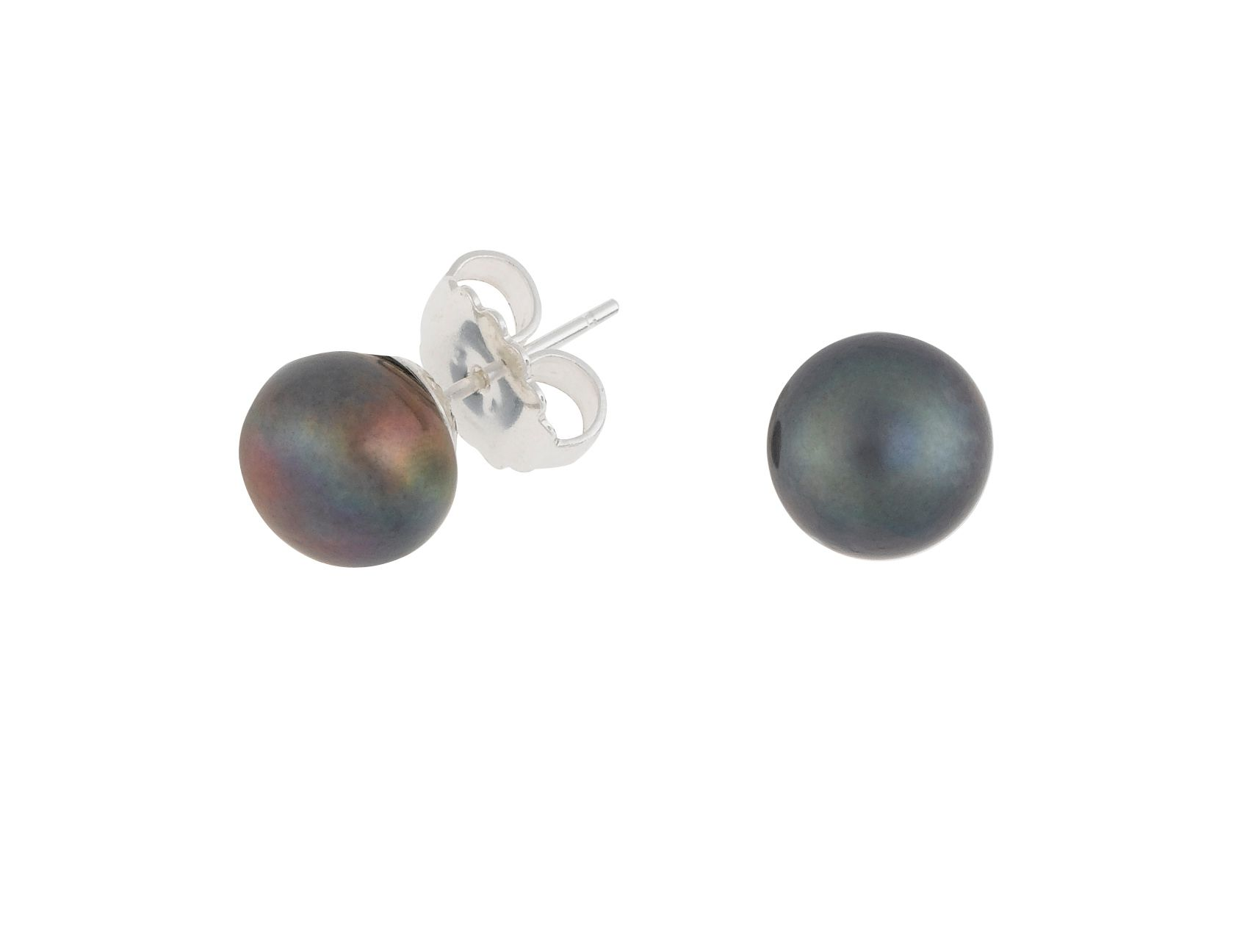dower and hall silver 8mm peacock pearl earrings