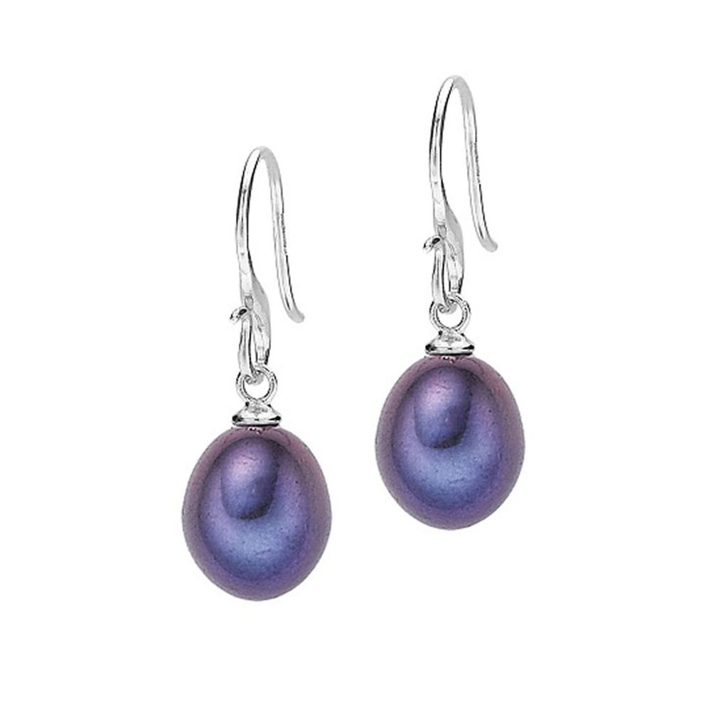 dower and hall silver 10mm peacock pearl earrings