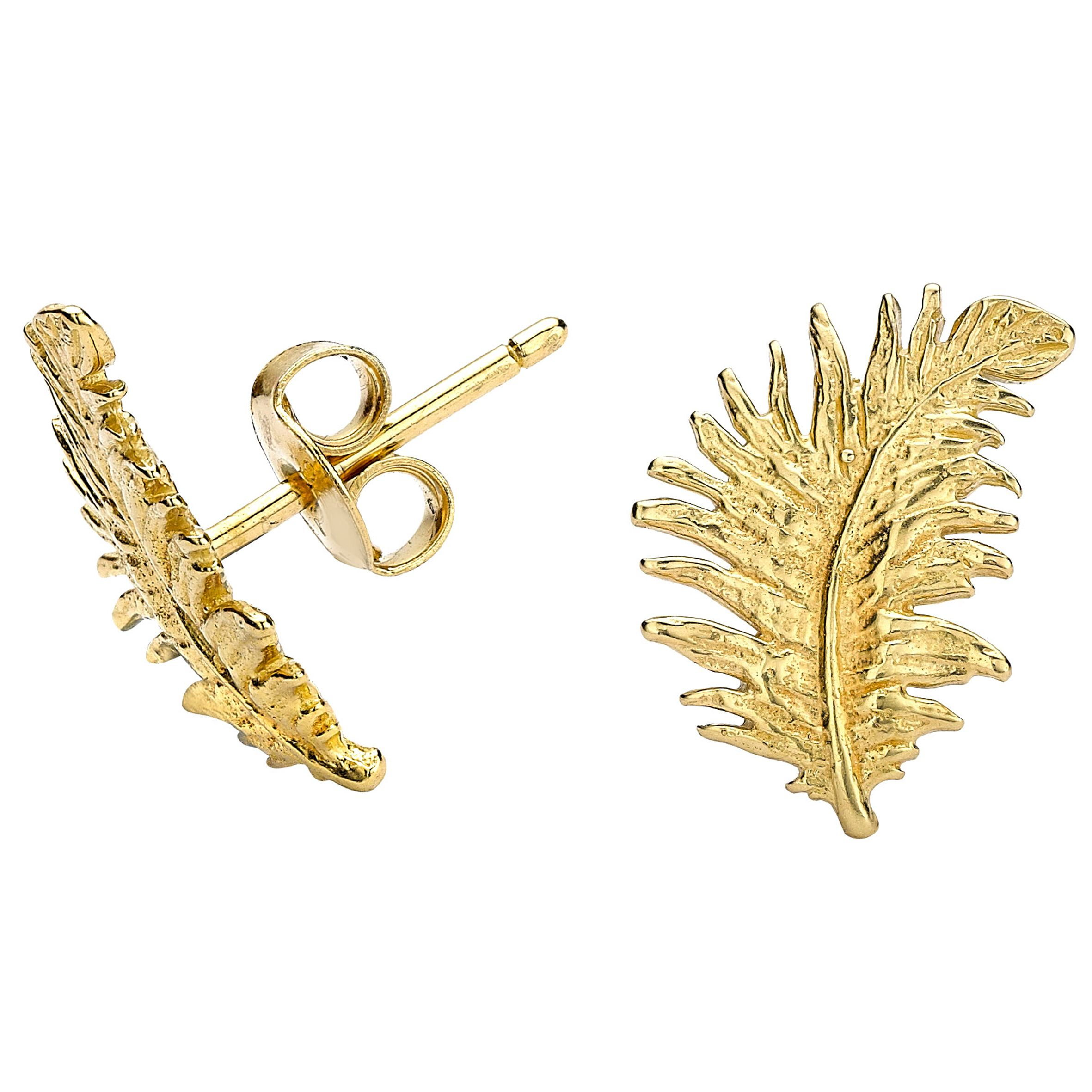dower and hall gold feather stud earrings