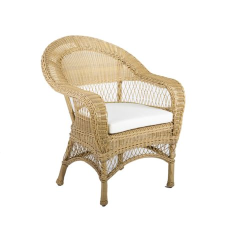 Cozy Bay Victoria beige rattan armchair with seat cushion