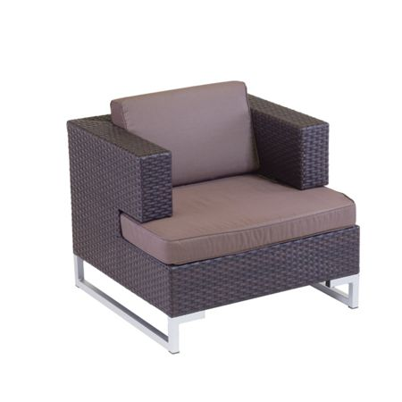 Cozy Bay Manhattan rattan arm sofa single unit in cappucci