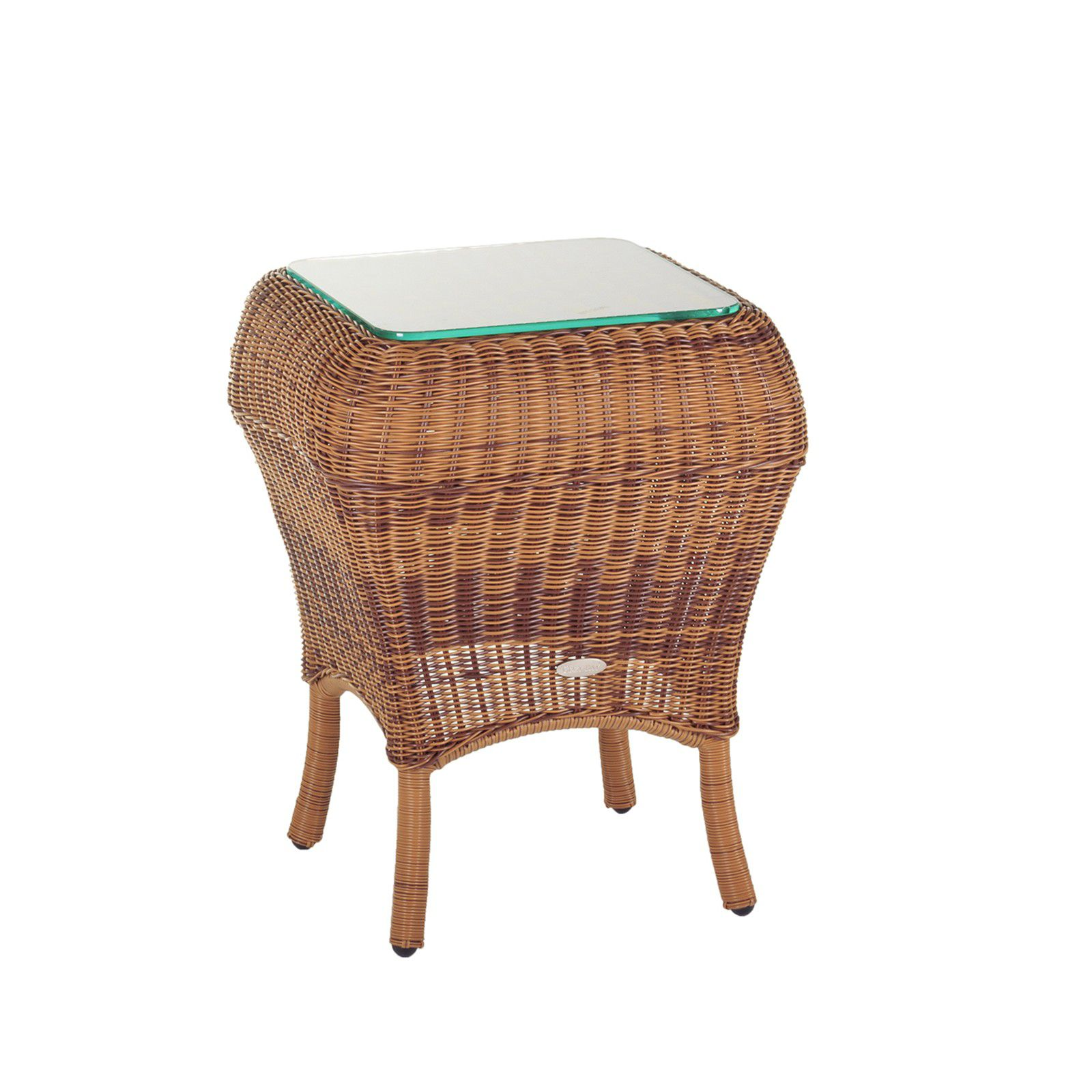 Cozy Bay Jamaica rattan side table java honey with glass t