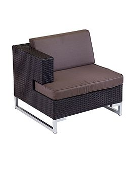 Manhattan rattan arm sofa right unit in cappuccin