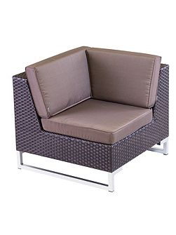 Manhattan rattan arm sofa corner unit in cappucci