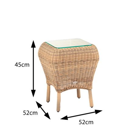 Cozy Bay Jamaica rattan side table 4 seasons with glass to