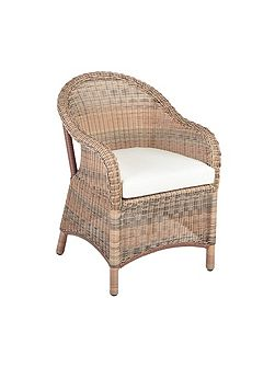 Sicilia armchair with seat pad cushion