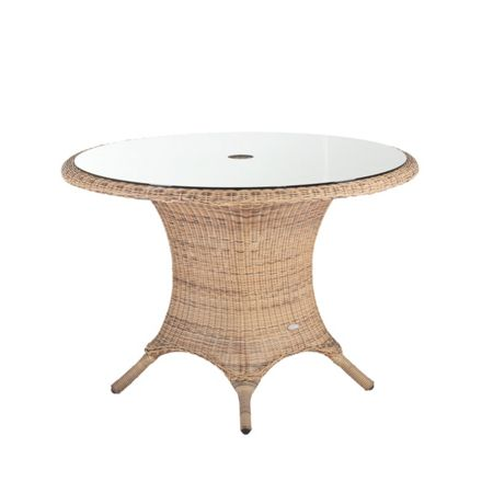 Cozy Bay 112cm rattan round table 4 seasons with glass