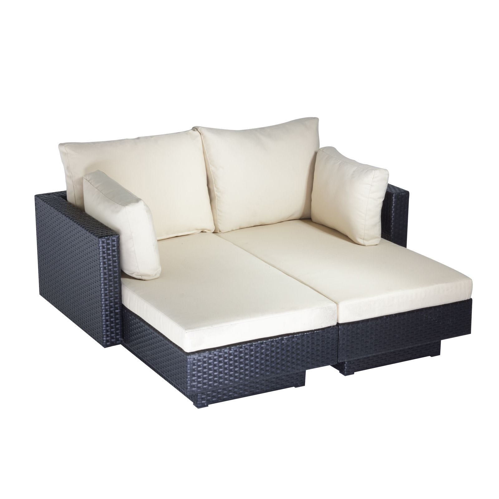 Cozy Bay Chicago 2 seater rattan furniture black super gar