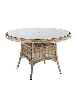 140cm hampton rattan round table with 8mm tempere