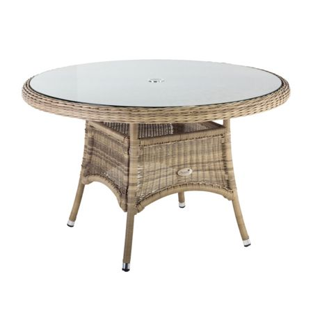 Oseasons 140cm hampton rattan round table with 8mm tempere