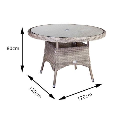 Oseasons 120cm Eden rattan round table with 8mm tempered g