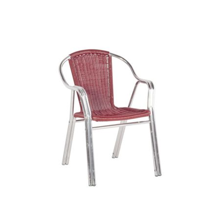 Sol Bistro Cappuccino stackable bistro chair in maroon ratta