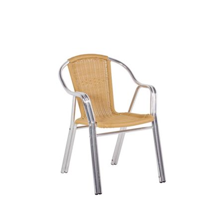 Sol Bistro Cappuccino stackable bistro chair in beige rattan